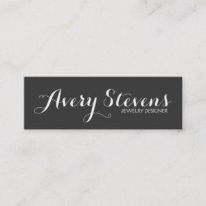 Bold Script Typography Simple Black Creative Mini Business Card