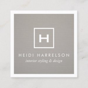 Box Logo Monogram on Gray Linen/White Border Square Business Card