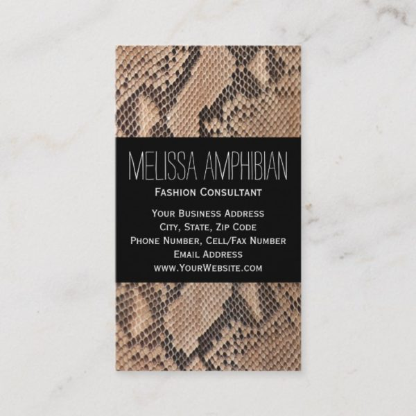 Brown Snakeskin Fashion Consultant Stylist Business Card
