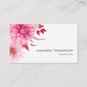 Burgundy and Blush Watercolor Floral Business Card