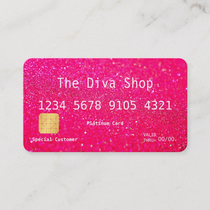 Business Card | Glitter Credit Card Pink