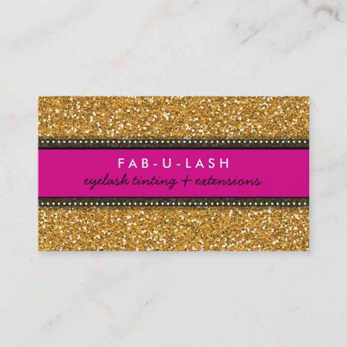 BUSINESS CARD modern trendy glitter hot pink gold