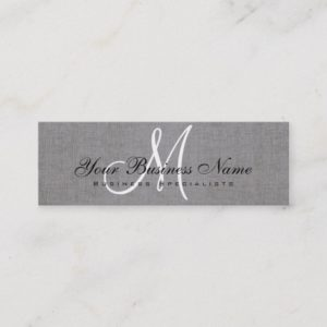 Charcoal Gray Linen Simple Monogram Mini Business Card