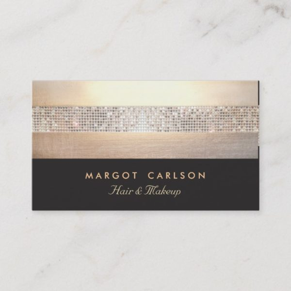 Chic and Elegant Sequin Gold Black Striped Business Card