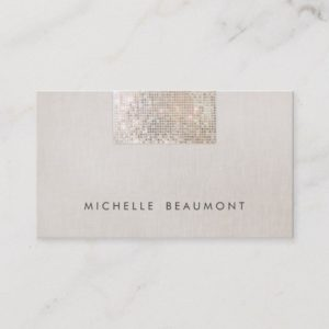 Chic Modern Beauty Salon Faux Sequin Beige Business Card