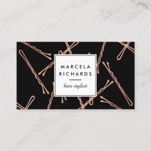 Chic Rose Gold Bobby Pins Hair Stylist Salon Black Business Card