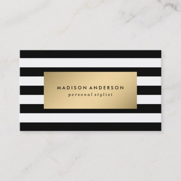 Chic Stripes in Gold | Business Cards