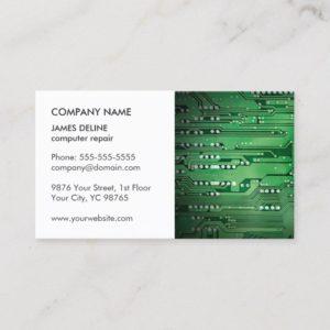 Classic Elegant WhiteGreen Circuit Computer Repair Business Card