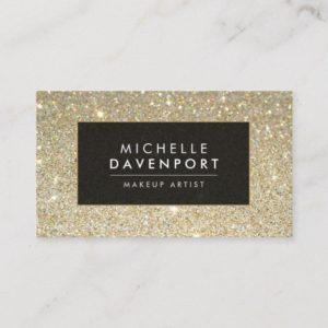 Classic Gold Glitter Makeup Artist Business Card