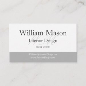 Classy Grey & White Monogram Business Card