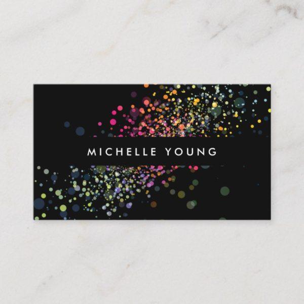Colorful Confetti Bokeh on Black Modern II Business Card