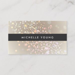 Colorful Confetti Bokeh on Tan Modern Business Card