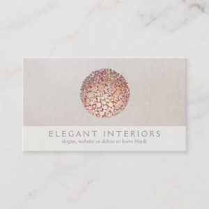 Colorful Gold  Circles Sphere Interior Designer Business Card