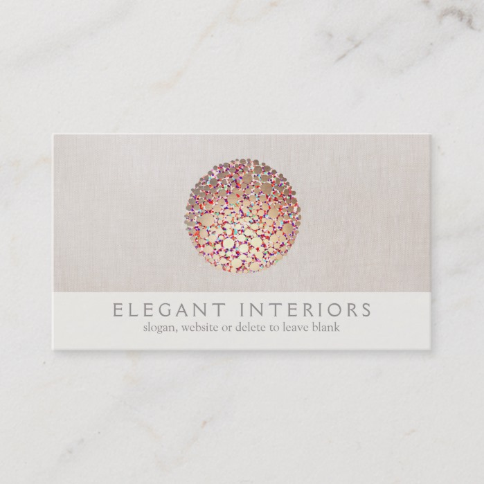 Colorful Gold Circles Sphere Interior Designer Business Card Business Card Branding