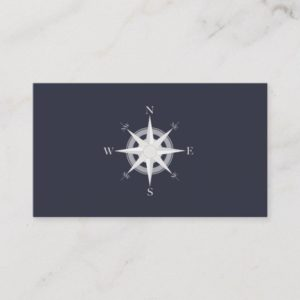 Compass Navy Blue Nautical Business Card