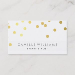 CONFETTI modern cute polka dot pattern gold foil Business Card