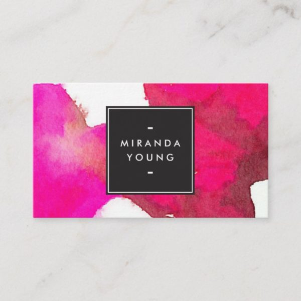 Cool and Elegant Abstract Fuchsia Pink Watercolor Business Card