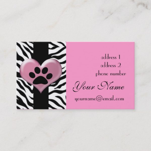 cool elegant zebra paw print business card
