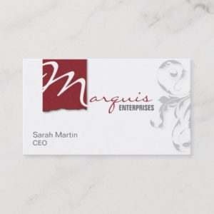 Corporate CEO Business Card Elegant Monogram Red