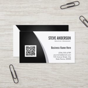 Corporate QR Code Logo - Professional Black White Business Card