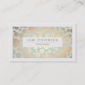 Cosmetology Beauty Turquoise Gold Leaf  Look Business Card