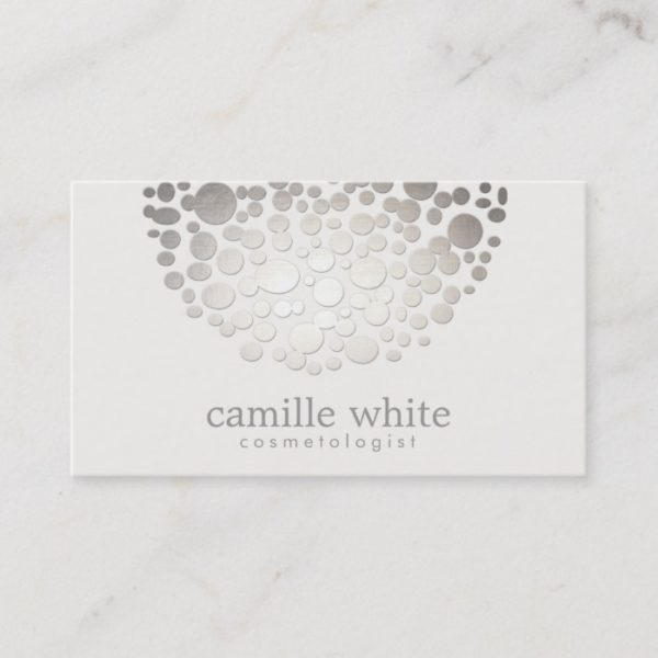 Cosmetology Faux Silver Foil Circles Beauty Business Card