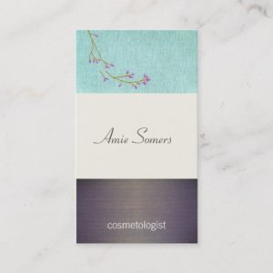 Cute Beauty Turquoise and Wood Hair Salon and Spa Business Card