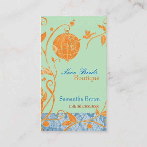 Cute Love Birds Fashion Boutique Business Cards