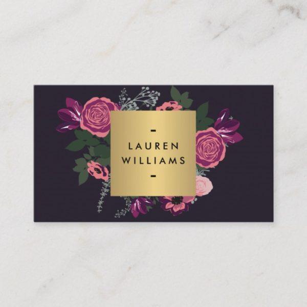 Dark Vintage Modern Floral Motif Luxe Designer II Business Card