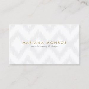 DESIGNER IKAT PATTERN in GRAY/WHITE Business Card