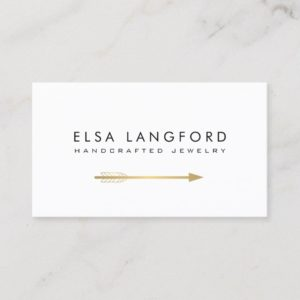 Edgy Bohemian Faux Gold Arrow Artisanal White Business Card