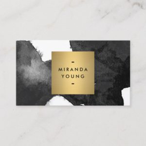 Elegant Abstract Black Watercolor Brushstrokes Business Card