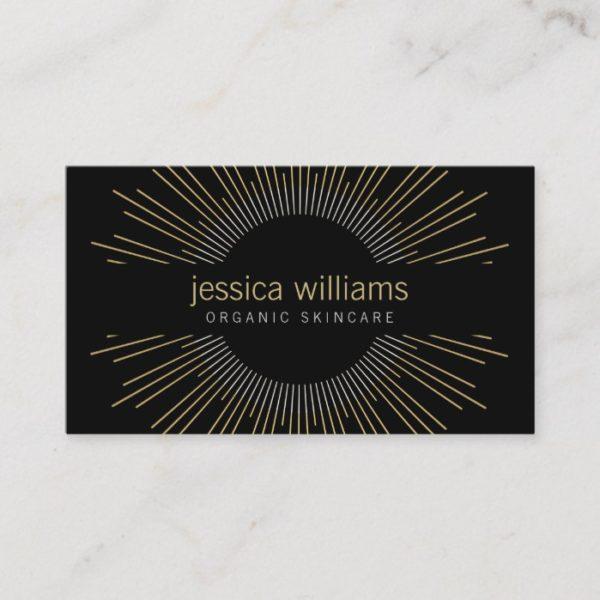Elegant Beauty Gold Sunburst on Black Business Card