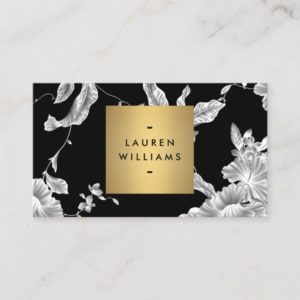 Elegant Black Floral Pattern 3 with Gold Name Logo Business Card