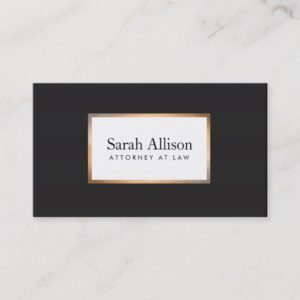 Elegant Black Gold Frame Stylish Professional Business Card