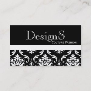 Elegant Black White Damask Fashion Business Card