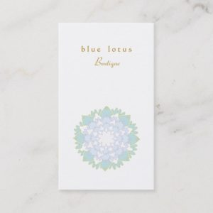 Elegant Blue Lotus Flower Simple Business Card