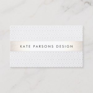 Elegant Chic Designer Silver Striped Pattern Business Card