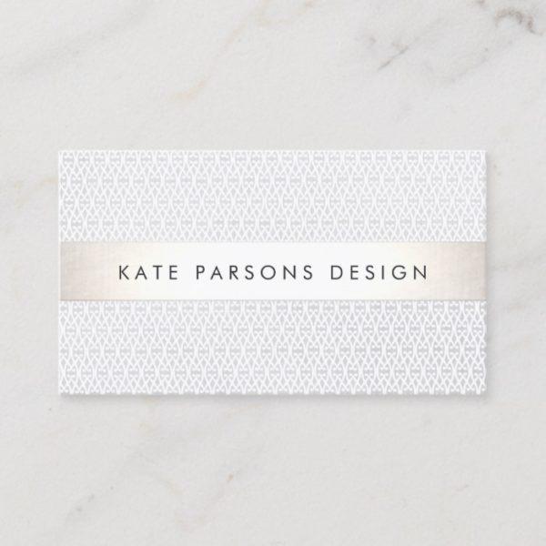 Elegant Chic Designer Silver Striped Pattern Business Card