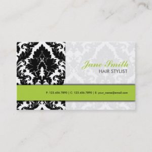 Elegant Damask Floral Pattern Modern Stylish Green Business Card