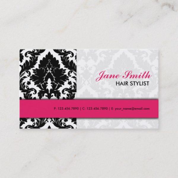 Elegant Damask Floral Pattern Modern Stylish Pink Business Card