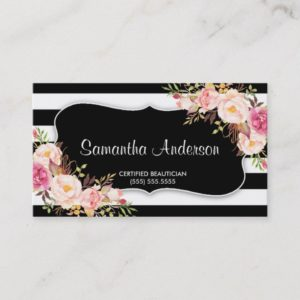Elegant Floral Black White Stripe Beauty Salon Business Card