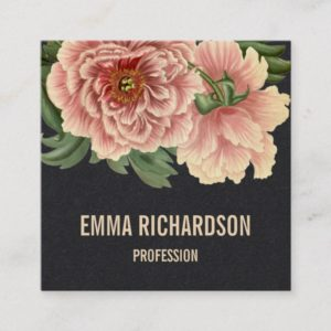 Elegant floral trendy pink peony business cards