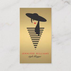 Elegant Glamour Gold Mod Stylist, Salon, Blogger Business Card
