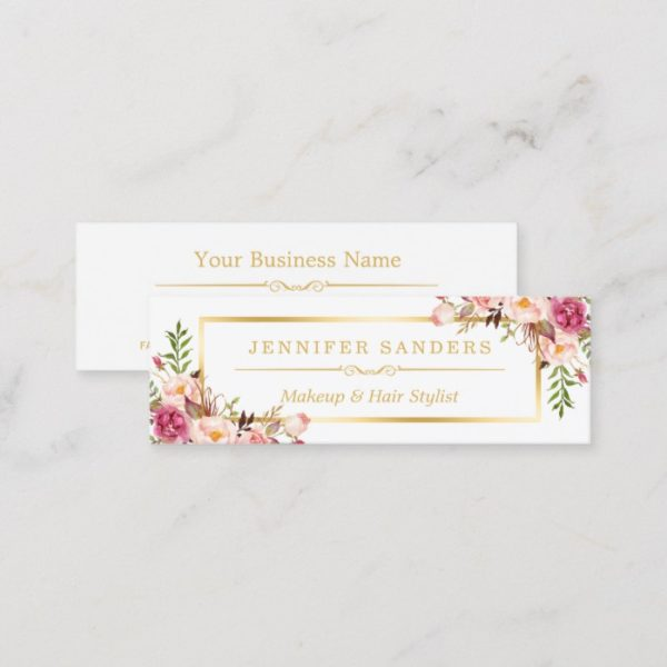 Elegant Gold Chic Floral Makeup Hair Stylist Salon Mini Business Card