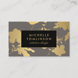Elegant Gold Floral Pattern Gray Designer Business Card