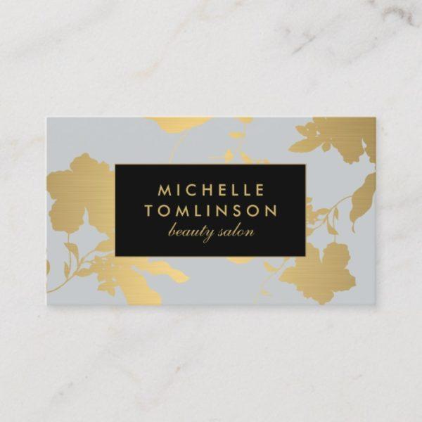 Elegant Gold Floral Pattern Pale Gray Designer Business Card