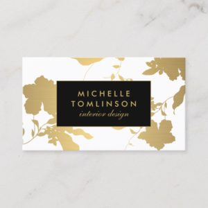 Elegant Gold Floral Pattern White Designer Business Card