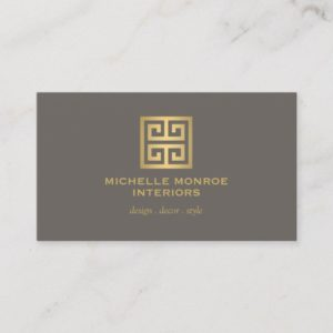 Elegant Gold Greek Key Interior Designer Taupe Business Card