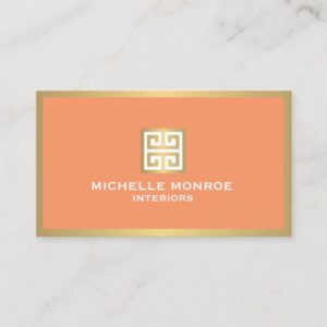 Elegant Gold Greek Key on Coral Interior Designer Business Card